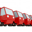 Four red trucks and green one ahead. — Stock Photo #8432994