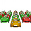 Flying golden car and lots of usual cars. — Stock Photo #8433054
