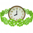 Green gears around a clock. — Stock Photo