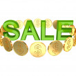 Word SALE and golden coins around. — Stock Photo