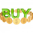 Word BUY and golden coins around. — Stock Photo