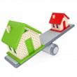 Small house and large house on a simple scales. — Stock Photo