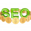 Word SEO and golden coins around. — Stock Photo #8433877