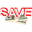 Word SAVE and money packs. - Stock Photo
