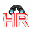 Stock Photo: Word HR and binoculars.