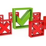 Green tick mark among red cross marks. — Stock Photo