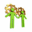 3d small merged with golden gears. — Stock Photo