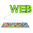 Colorful PC keyboard and big green word WEB. — Stockfoto