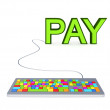 Stock Photo: Colorful PC keyword and big green word PAY.