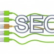 Big word SEO, foue green patchcords and golden one. — Stock Photo #8434404