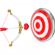 Cupid's bow and red target. - Stock Photo