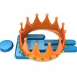 3d small person under large crown. — Stock Photo #8434936