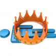 3d small person under large crown. — Stock Photo