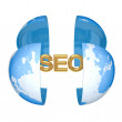 Earth and golden word SEO. — Stock Photo