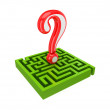 Green labyrinth and red query sign. - Stock Photo