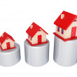 Graphic and three small houses. — Stock Photo