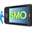 Modern mobile phone with big word SMO. — Stock Photo #8435566