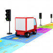 Red truck driving on a road made of colorful credit cards. — Stock Photo