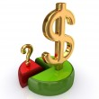 Colorful graph, dollar and pound sterling signs. — Stock Photo