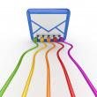 Colorful patch cords connected to stylized envelope. - Stock Photo