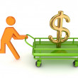 Running 3d small person and gold dollar sign on a pushcart. — Stock Photo