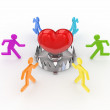 Colorful 3d small around iron trap and red heart. — Stock Photo
