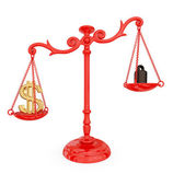Scales of justice with dollar sign — Stock Photo