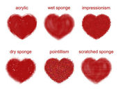 Painted hearts set. — Stock Photo