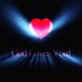 Glowing inscription God Loves You — Stock Photo