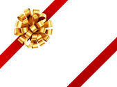 Golden ribbon with red bow. — Stock Photo