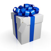 White gift box with a blue ribbon. — Foto de Stock