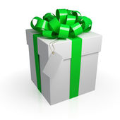 White gift box with a green ribbon. — Stockfoto