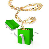 Gift box with a golden curl. — Stock Photo