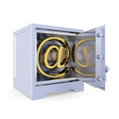 Iron safe with golden e-mail sign inside. — Stock Photo