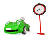 Green car and red timer. — Stock Photo