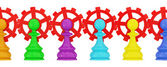 Colorful pawns merged with red gears — Stock Photo