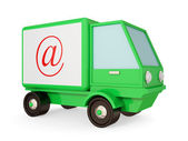 Green truck with red email symbol. — Stock Photo