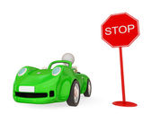 Green car with STOP sign — Stock Photo
