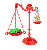 Green car and golden dollar sign on a red scales. — Stock Photo