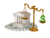 Court, money, golden scales with dollar sign. — Stock Photo