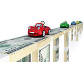 Colorful cars on money bridge. — Stock Photo