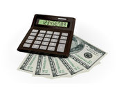 Calculator and dollars. — Stock Photo