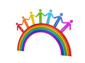 3d small standing on a rainbow. — Stock Photo