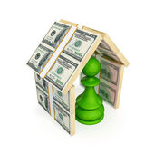 Green pawn under the roof made of money. — Stock Photo