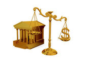 Court, vintage scales and dollar sign. — Stock Photo