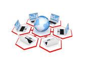 Notebooks und erde in einem netzwerk zusammengeführt. — Stockfoto
