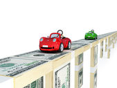 Red and green cars driving on a bridge made of money — Stock Photo