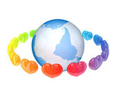 Colorful hearts around tje Earth. — Stock Photo