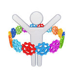 Colorful gears around 3d small person. — Stock Photo
