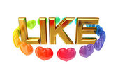 Golden word LIKE and colorful small hearts around it. — Stock Photo